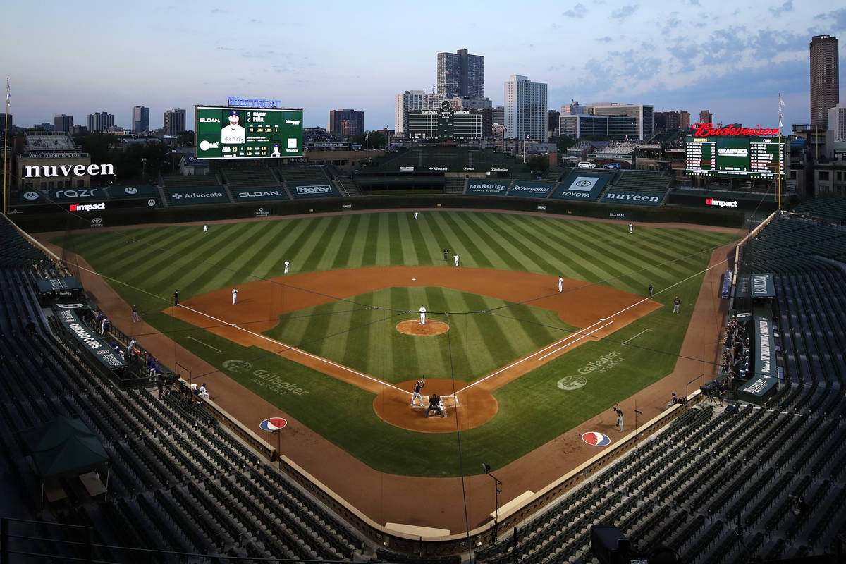 Wrigley field seen during a baseball game between the Milwaukee Brewers and the Chicago Cubs Fr ...