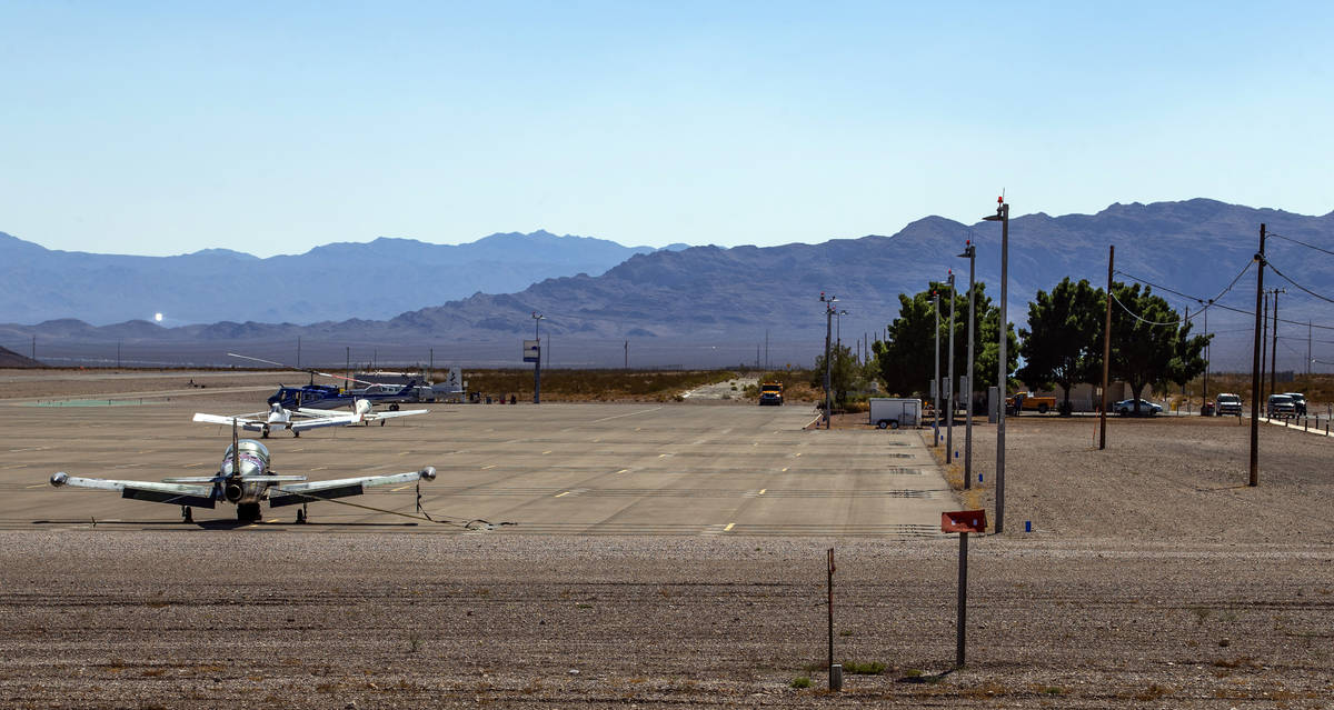 Planes and a helicopter on the tarmac at the Jean Airport Sport Aviation Center on Friday, Sept ...