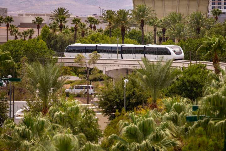 A train makes its way towards the Westgate Station along the Las Vegas Monorail system on Sunda ...