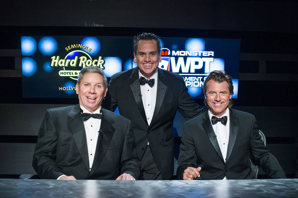 Mike Sexton, left, seen in an undated file photo, died Sunday at 72. Also pictured are WPT exec ...