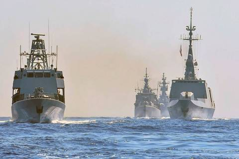 Warships from Greece, Italy, Cyprus and France participate in a joint military exercise which w ...