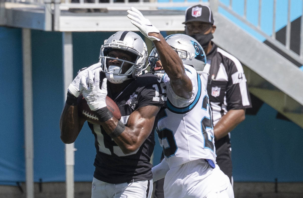 Las Vegas Raiders wide receiver Nelson Agholor (15) catches a touchdown pass over Carolina Pant ...