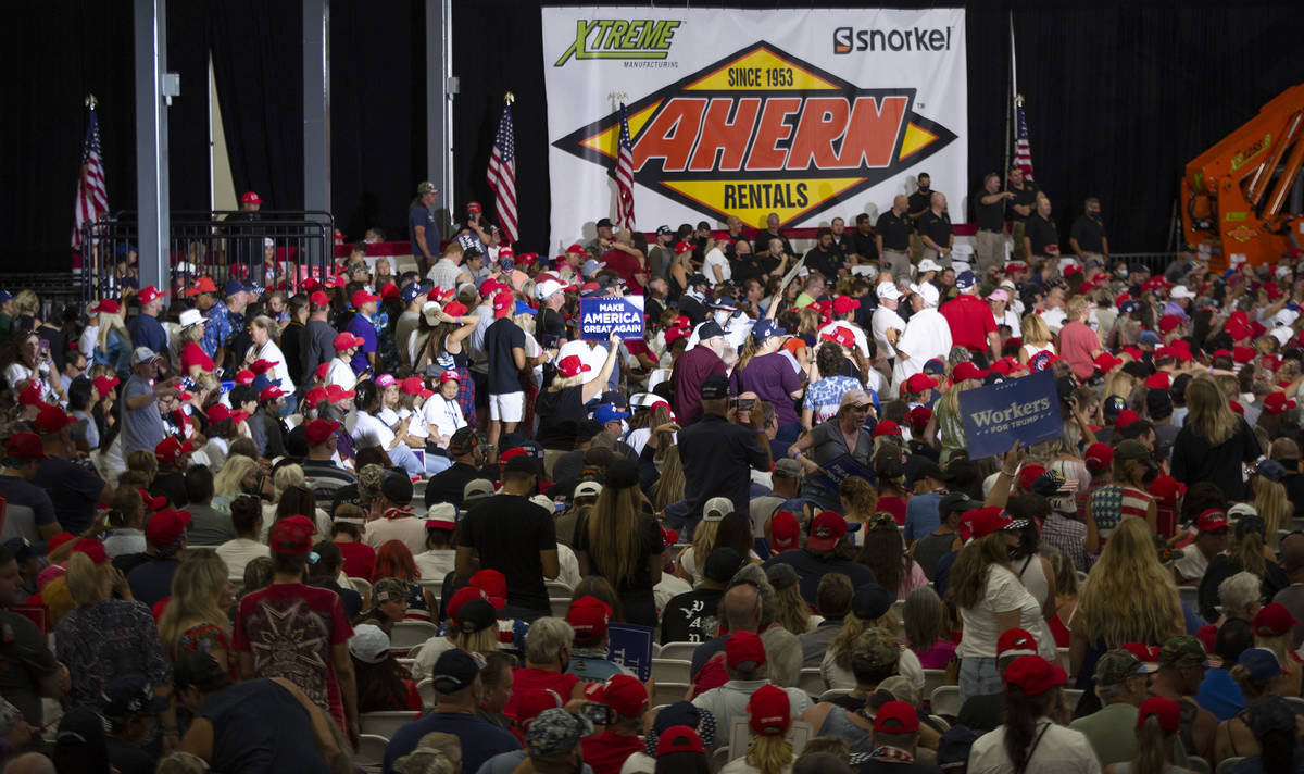 The crowd during a Trump campaign rally at Xtreme Manufacturing on Sunday, Sept. 13, 2020, in H ...