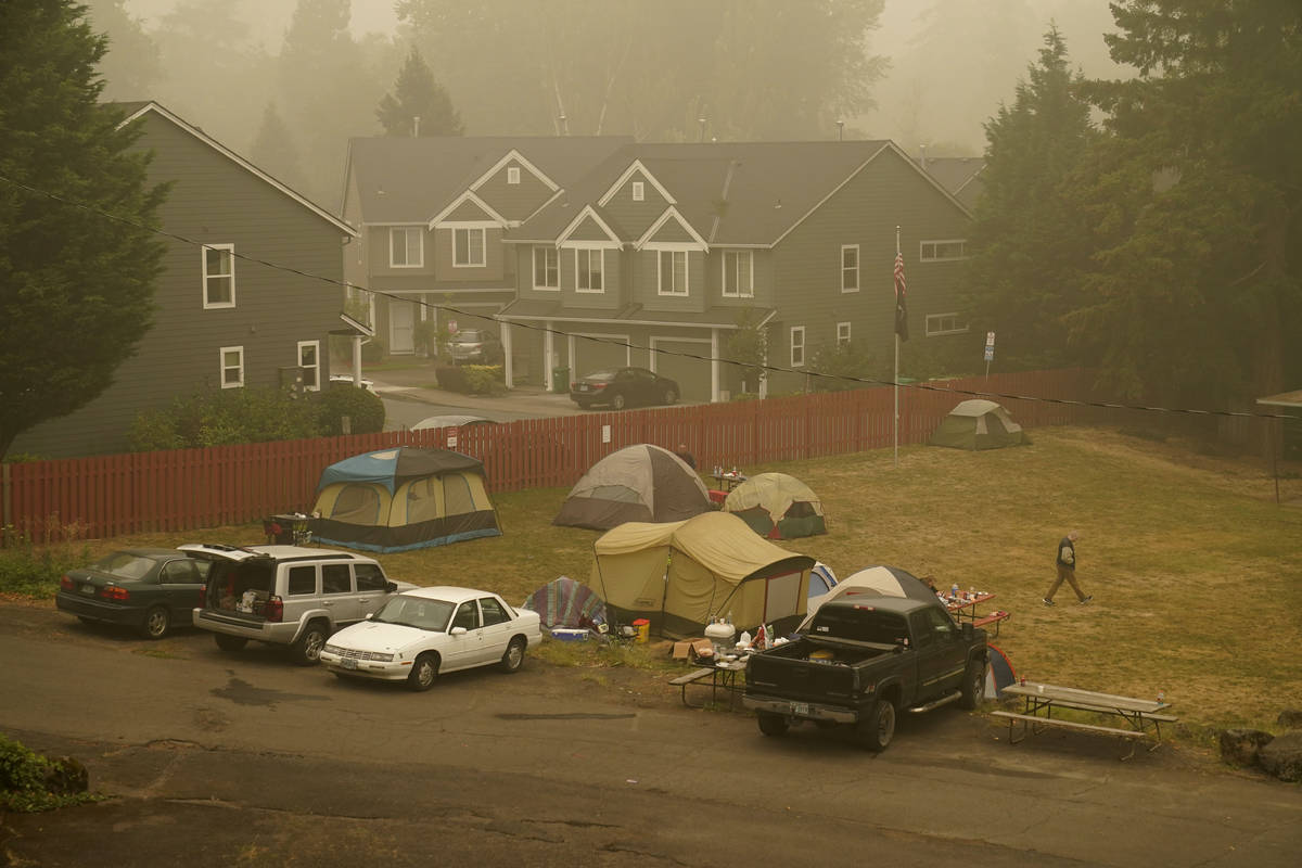 Evacuees from the Riverside Fire stay in tents at the Milwaukie-Portland Elks Lodge, Sunday, Se ...