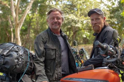 "Charley Boorman, left, and Ewan McGregor in ""Long Way Up."" (Apple TV+)"
