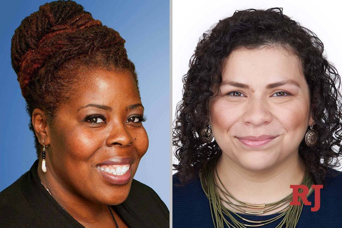 Tameka Henry, left, and Evelyn Garcia Morales, candidates for Clark County School District, ...