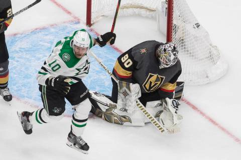 Dallas Stars' Corey Perry (10) reacts as the puck goes in past Vegas Golden Knights goalie Robi ...