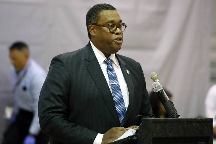 FILE--Las Vegas City Ward 5 councilman Cedric Crear speaks during a press conference at the Du ...