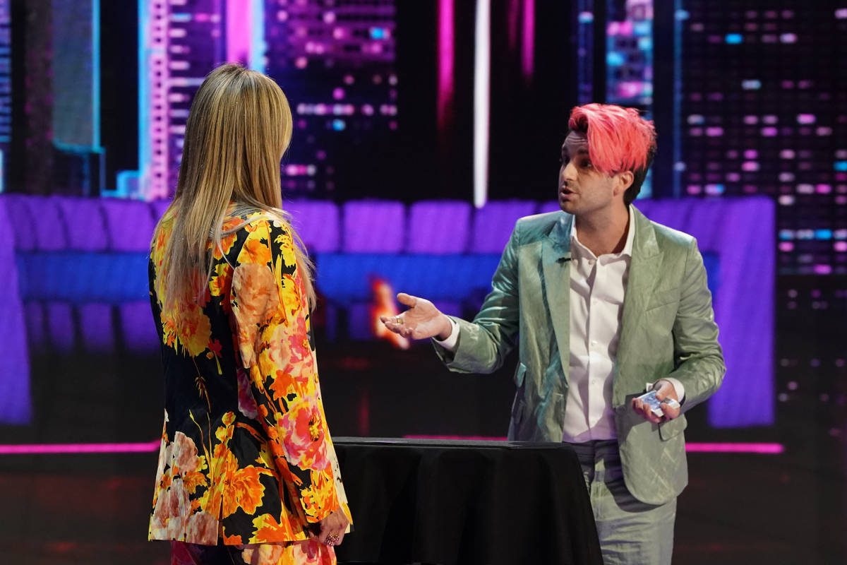"""Las Vegas performer Brett Loudermilk is shown with """"America's Got Talent"""" judge Heidi Klum on t ..."""