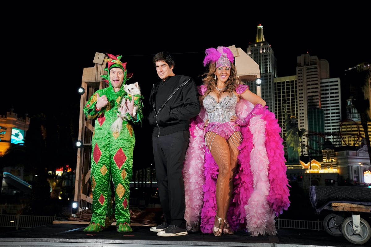 """PIff the Magic Dragon, David Copperfield and Jade Simone are shown taping a segment for """"Americ ..."""