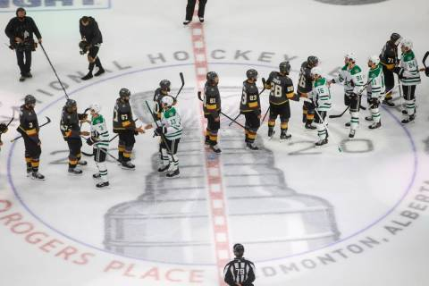 Dallas Stars and Vegas Golden Knights players shake hands after Dallas won in overtime NHL West ...