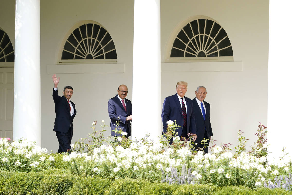 President Donald Trump walks to the Abraham Accords signing ceremony at the White House, Tuesda ...