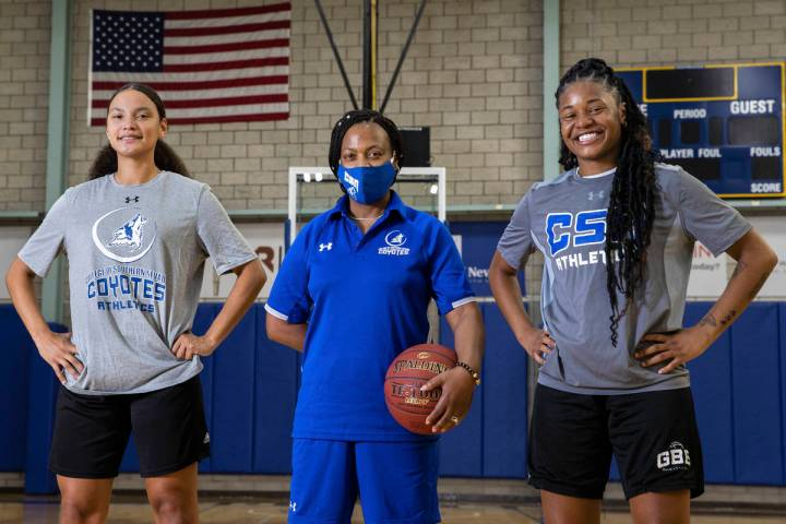 College of Southern Nevada sophomore small forward Maysan Raleigh, left, head coach Dorothy Ken ...
