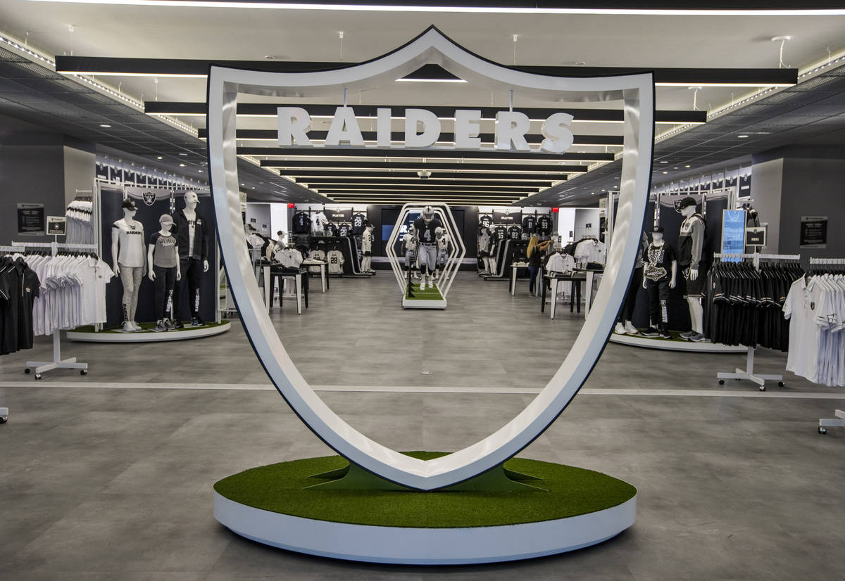 Entrance to The Raider Image official team store inside of Allegiant Stadium on Tuesday, Sept. ...