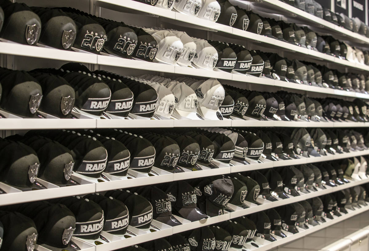A variety of RaiderÕs hats for sale within The Raider Image official team store inside of ...