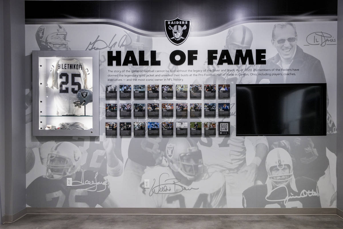 A RaiderÕs hall of fame display can be viewed within The Raider Image official team store ...