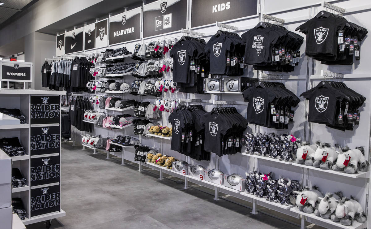 A variety of merchandise including those for kids are on sale at The Raider Image official team ...
