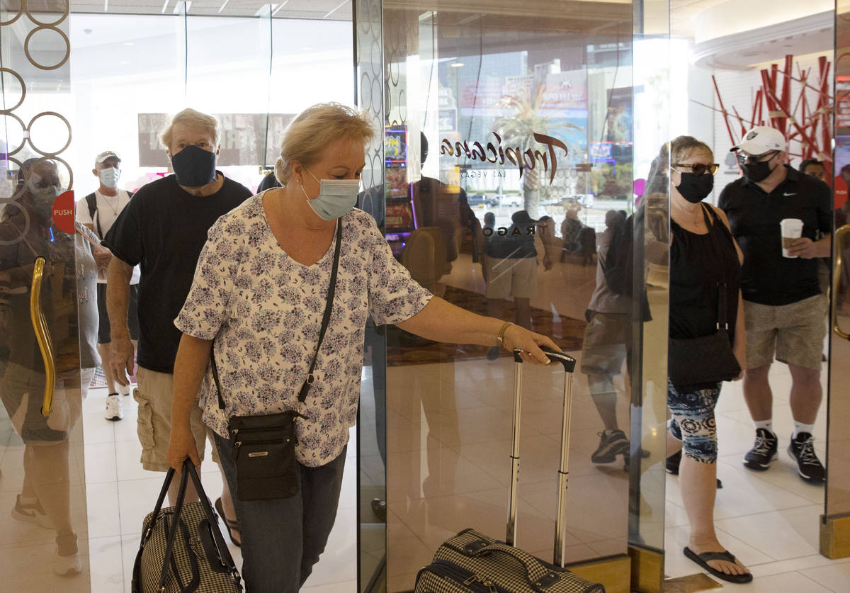 Gusts arrive after the Tropicana hotel-casino reopens to public, on Thursday, Sept. 17, 2020, i ...