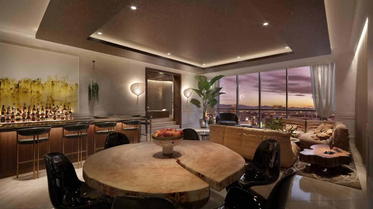 A rendering of a Virgin Hotels Las Vegas living room (courtesy Virgin Hotels Las Vegas)