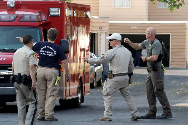 Las Vegas police and firefighters were on the scene of a reported explosion at a residence on 3 ...