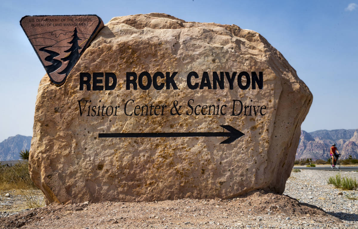 Entrance marker for the Red Rock Canyon National Recreation Area which is starting a timed entr ...