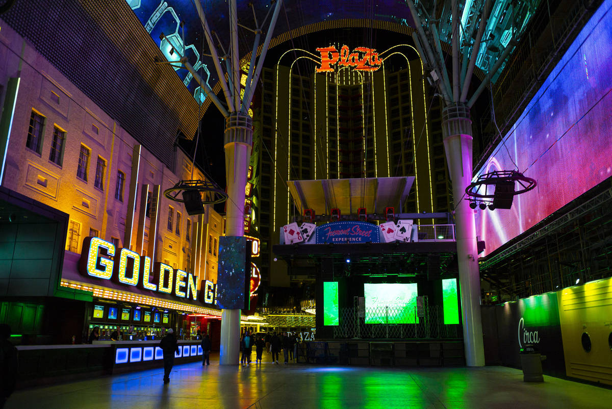 A view looking towards the Plaza from the Fremont Street Experience following Gov. Steve Sisola ...