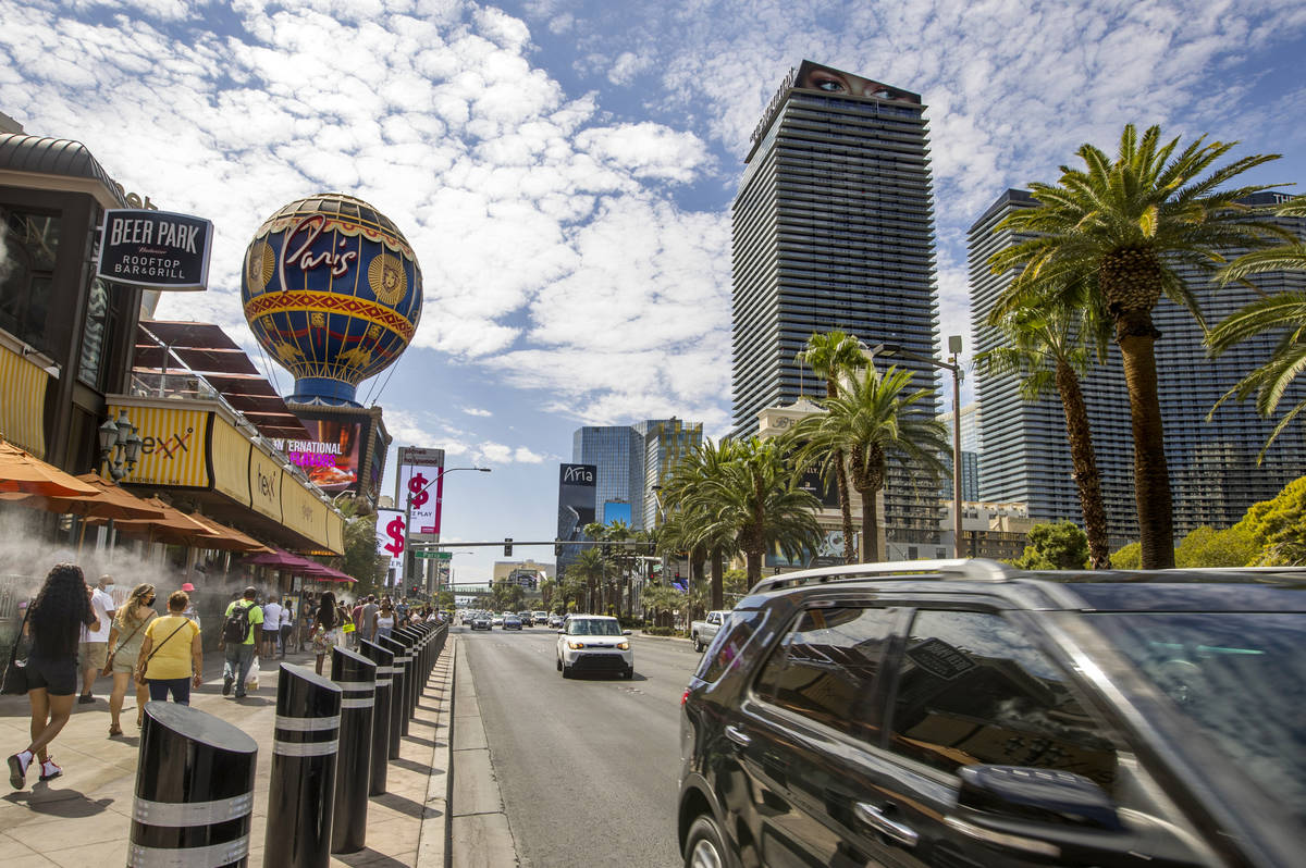 The Las Vegas Strip about the Paris Las Vegas is active during Labor Day weekend on Saturday, S ...