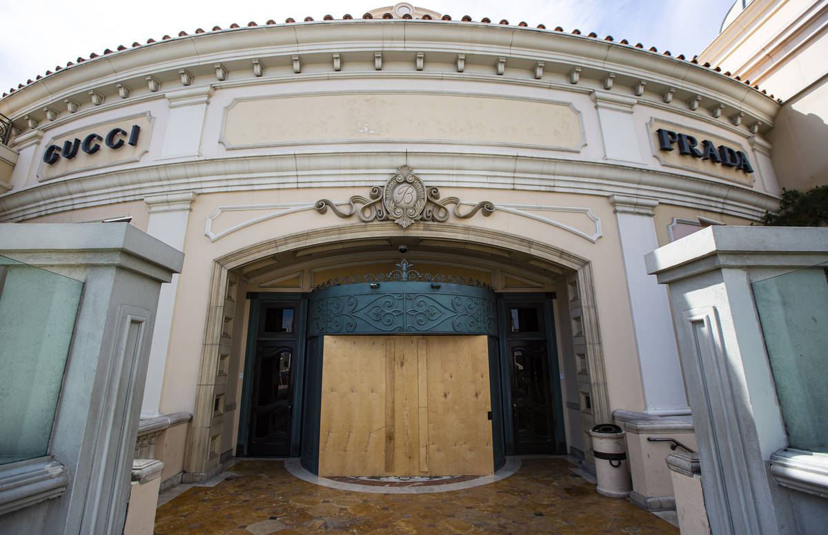 A boarded up entrance to the Bellagio along the Las Vegas Strip on Thursday, April 16, 2020. (C ...