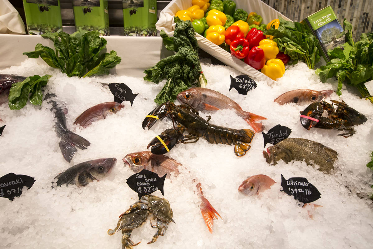 Fresh seafood on display at Estiatorio Milos inside The Cosmopolitan of Las Vegas on Saturday, ...