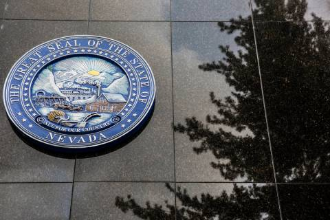 The Nevada State Seal on the north side of the Legislative Building in Carson City. (Benjamin H ...