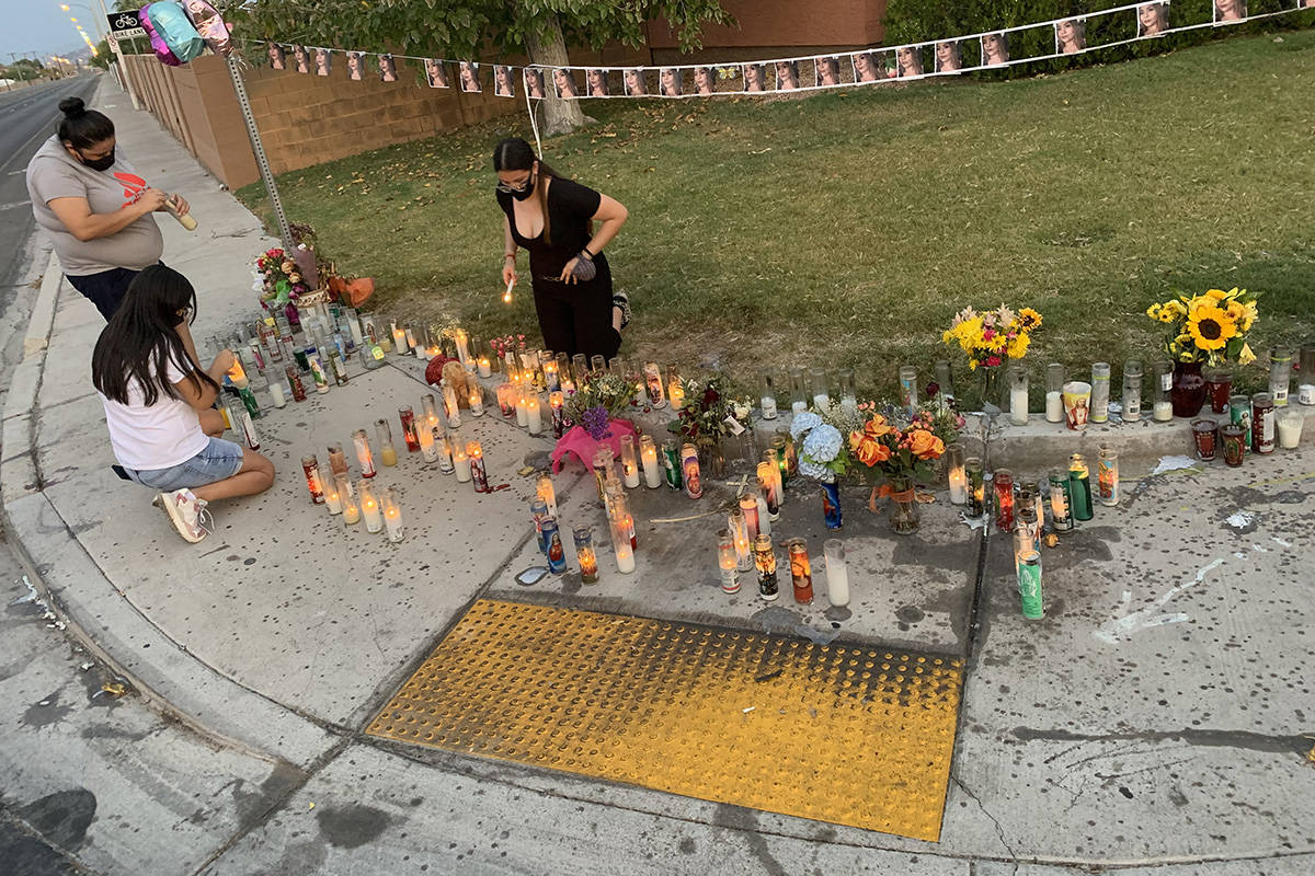 A memorial for murder victim Lesly Palacio is displayed Wednedsay, Sept. 16. 2020, in Las Vegas ...