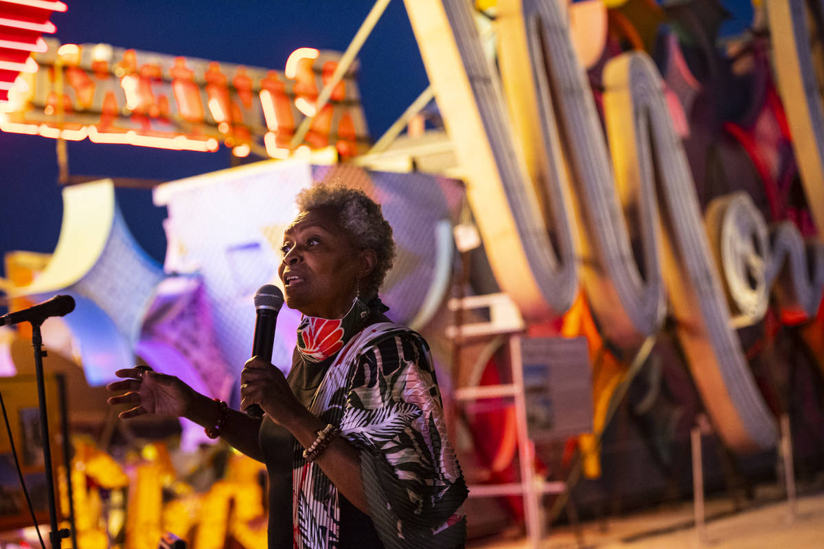 Claytee White, director of the Oral History Research Center at UNLV, talks before the reillumin ...
