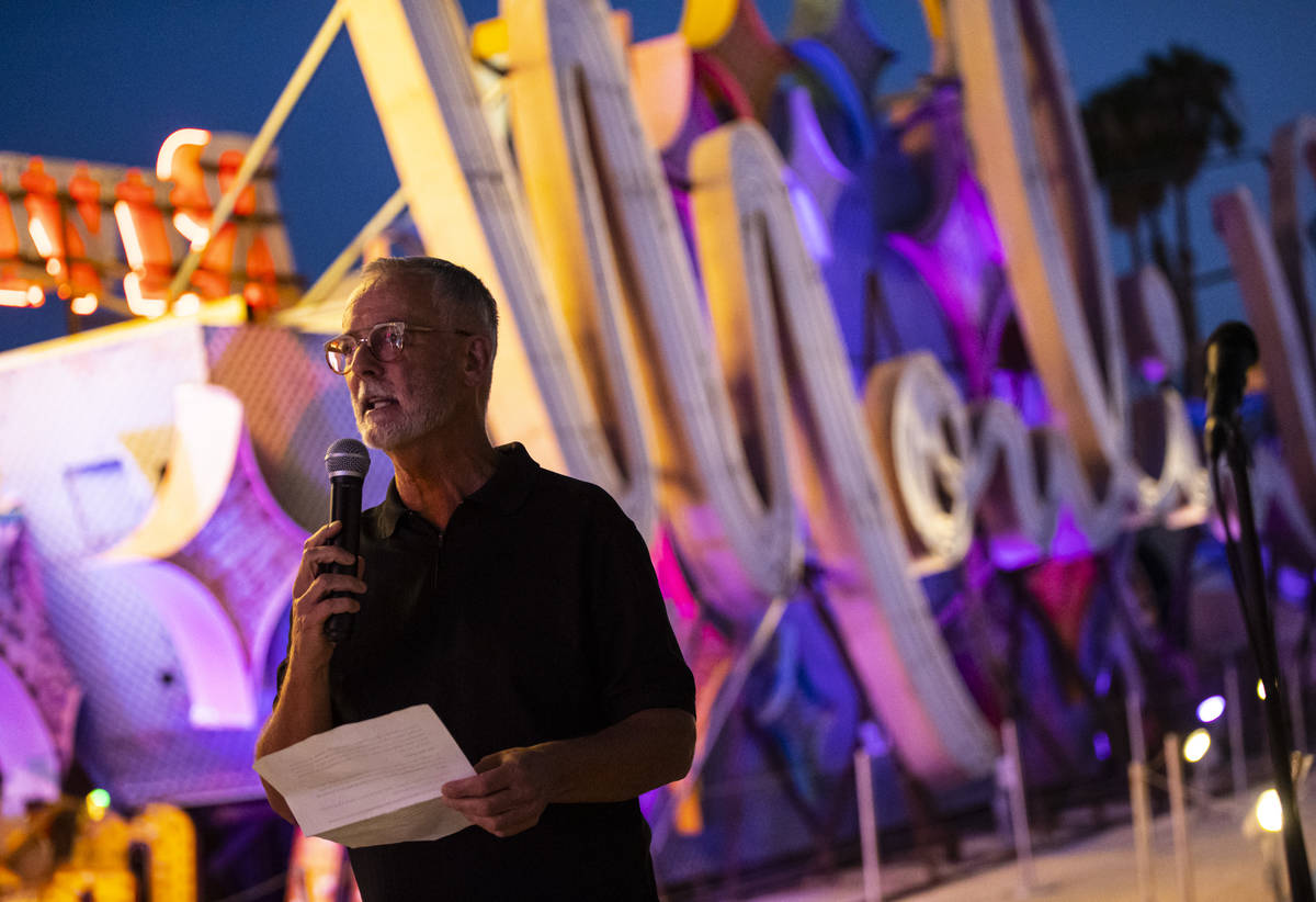 Rob McCoy, president and CEO of the Neon Museum,ʳpeaks before the reillumination of the M ...