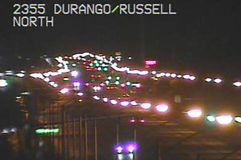 Traffic was delayed near Durango and Russell roads in the southwest valley early Thursday, Sept ...