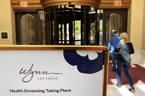 Signs inside Wynn Las Vegas informing guests about coronavirus testing on Saturday, March 14, 2 ...