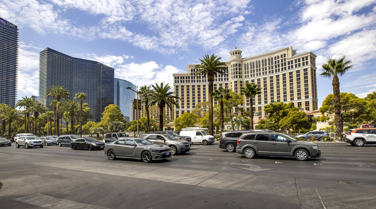 Traffic is heavy along the Las Vegas Strip across from the Bellagio during Labor Day weekend on ...
