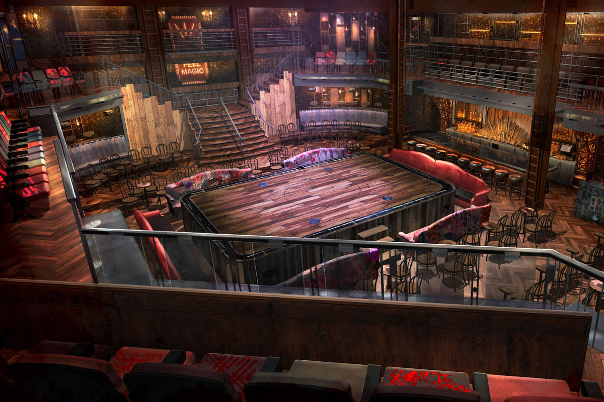 """A rendering of the """"Magic MIke Live"""" theater at Sahara Las Vegas. The show is set to open in th ..."""