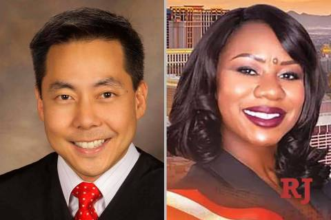 Chris Lee and Belinda Harris, candidates for North Las Vegas Justice of the Peace Department 3 ...