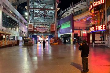 The welcome sign dark at Fremont Street Experience in downtown Las Vegas Wednesday, March 18, 2 ...