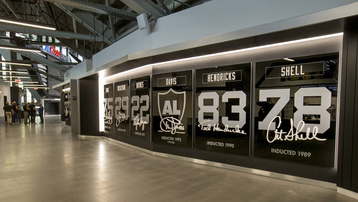 Former Oakland Raiders in the Pro Football Hall of Fame are each recognized on the 200 level Al ...