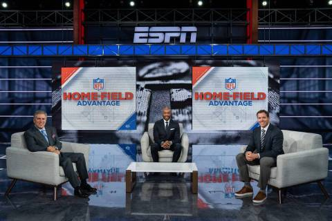 Bristol, CT - September 2, 2020 - Studio W: Steve Levy (l), Louis Riddick and Brian Griese on t ...