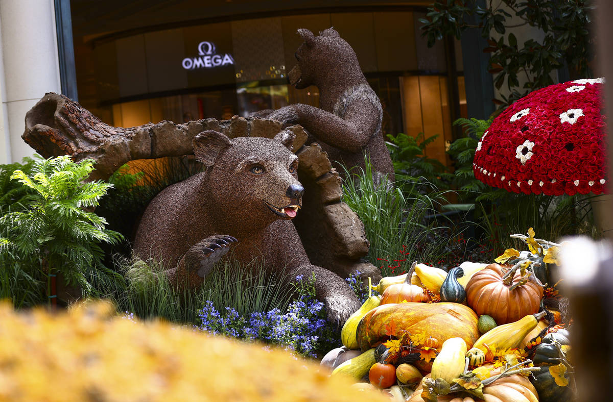 """Bears are part of the """"Into the Woods"""" fall display at the Bellagio Conservatory and Botanical ..."""