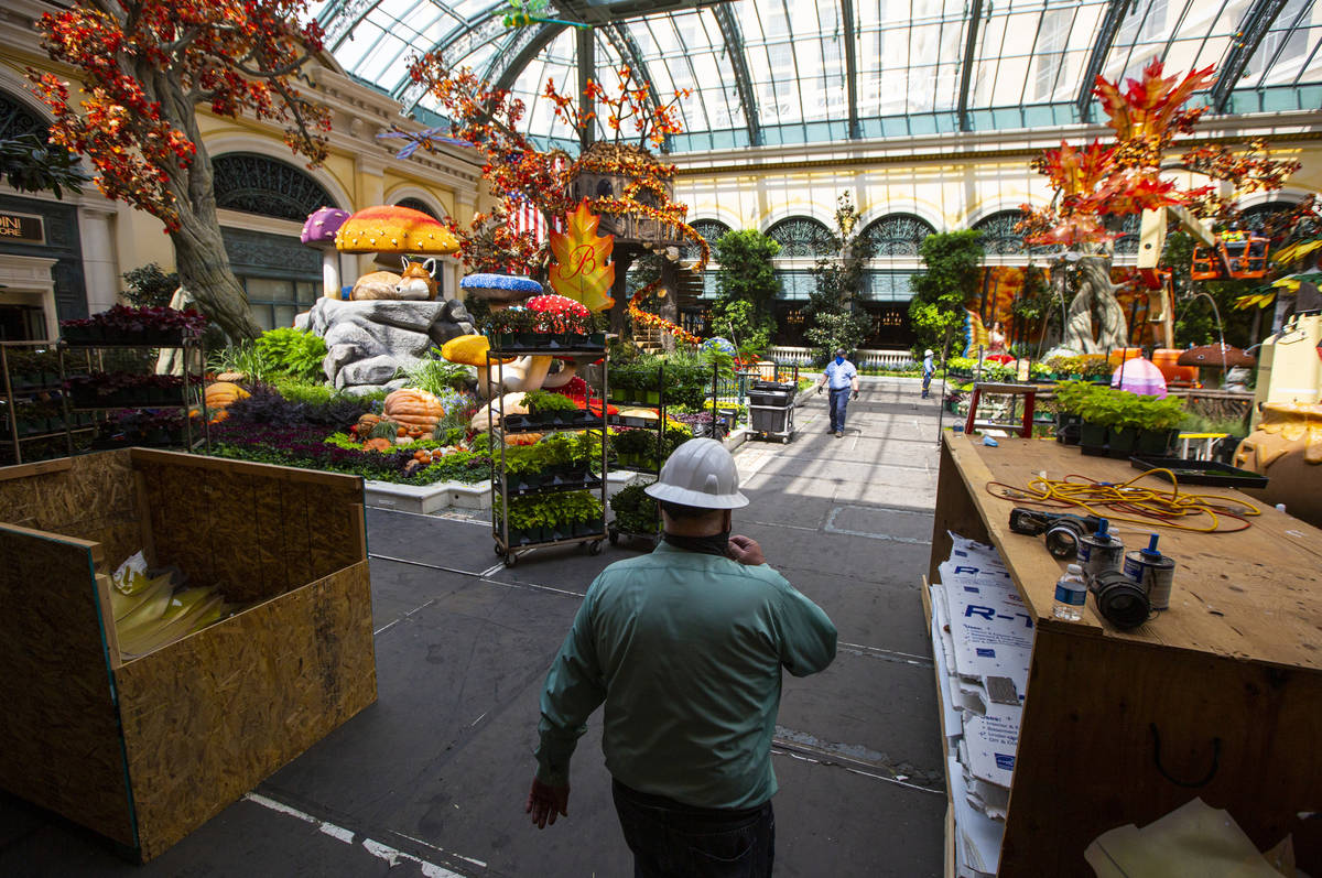 Jerry Bowlen, executive director of horticulture for MGM Resorts International, walks through t ...