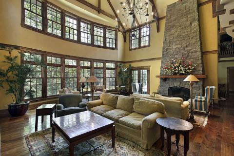 This large two-story family room has many windows that expose the interior to destructive ultra ...