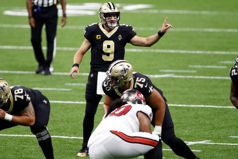 New Orleans Saints quarterback Drew Brees (9) during an NFL football game against the Tampa Bay ...