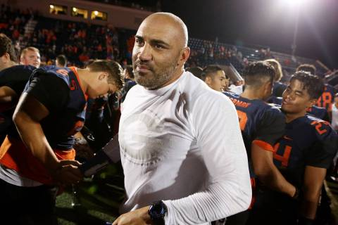 Former Bishop Gorman football coach Kenny Sanchez is shown on Saturday, Sept. 16, 2017, in Las ...