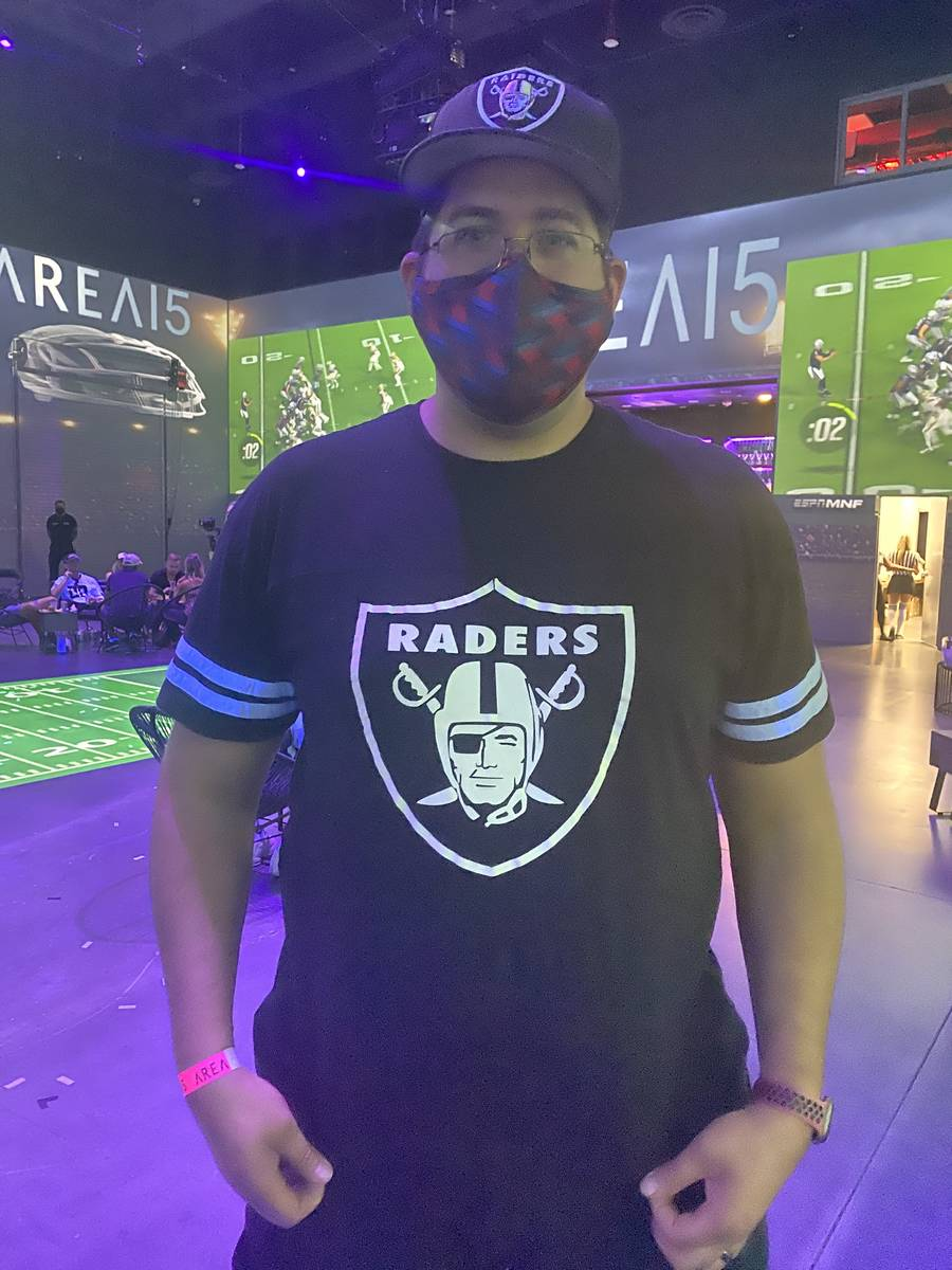 Randy Rader (his real name) of Las Vegas is shown during the Portal at Area15's Raider opening ...