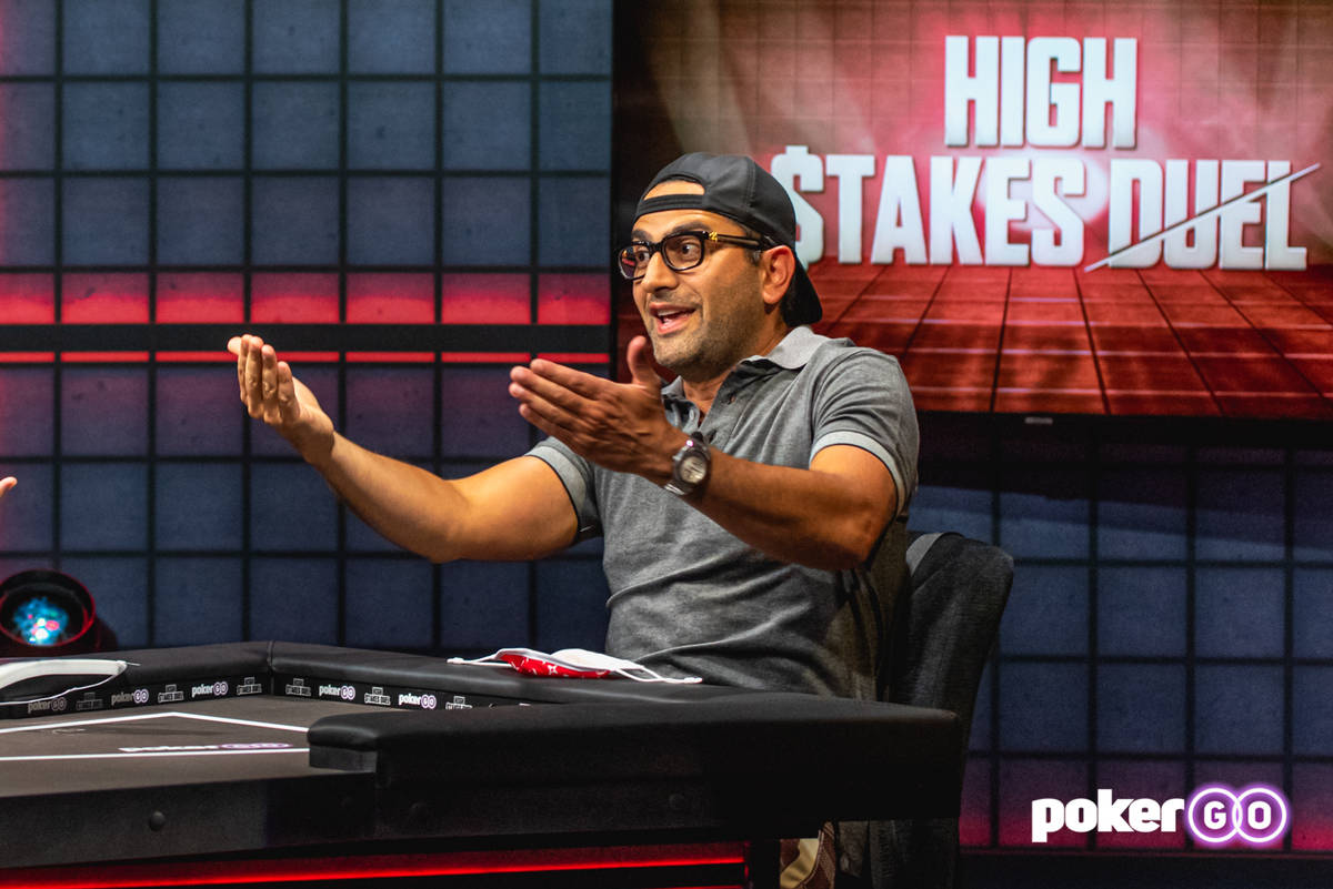 "Antonio Esfandiari on the set of ""High Stakes Duel"" on PokerGO. He is challenging Phil Hellmuth ..."