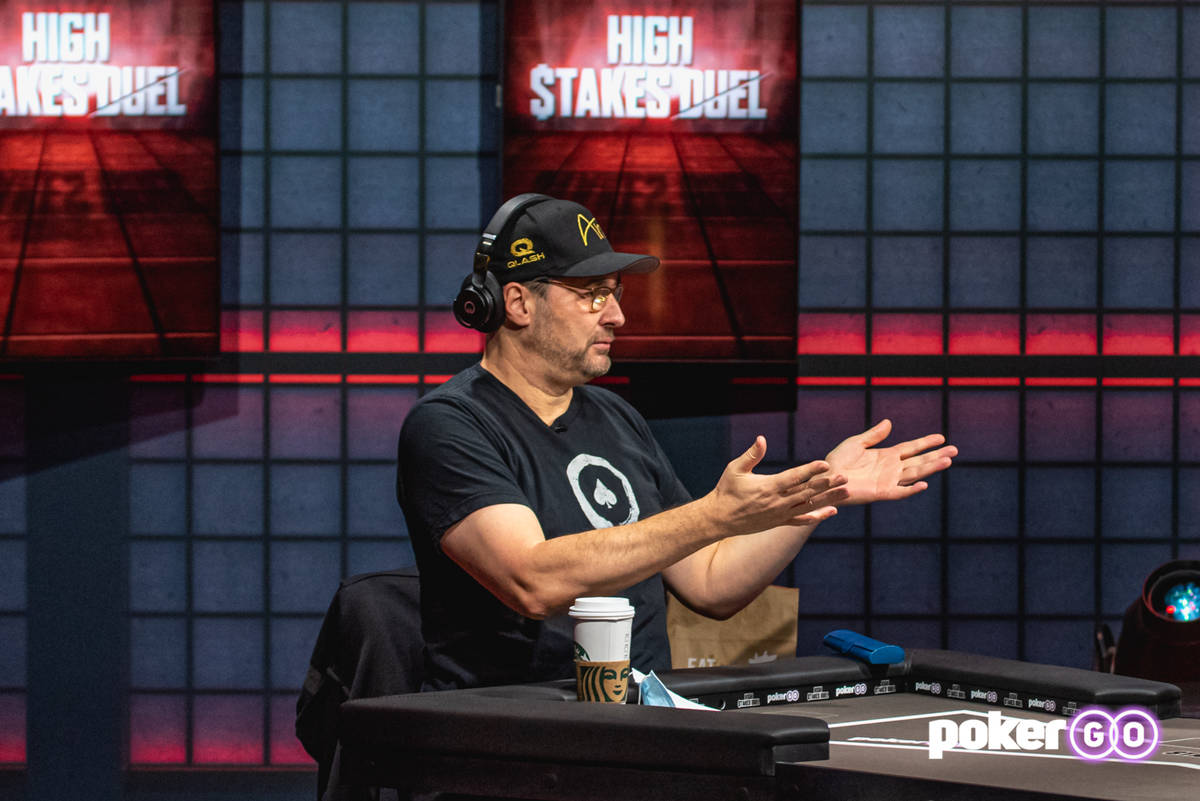"Phil Hellmuth on the set of ""High Stakes Duel"" on PokerGO. He is meeting Antonio Esfandiari in ..."