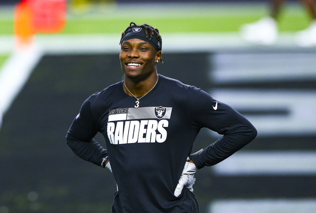Las Vegas Raiders wide receiver Henry Ruggs III warms up before the Raiders' home opening NFL&# ...